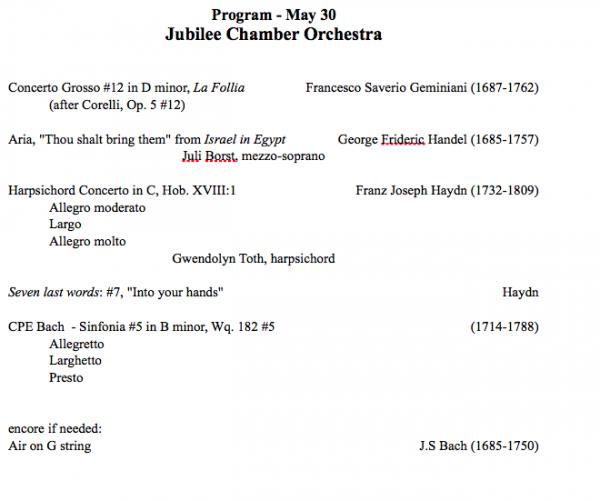 Jubilee Chamber Orchestra Concert - Program